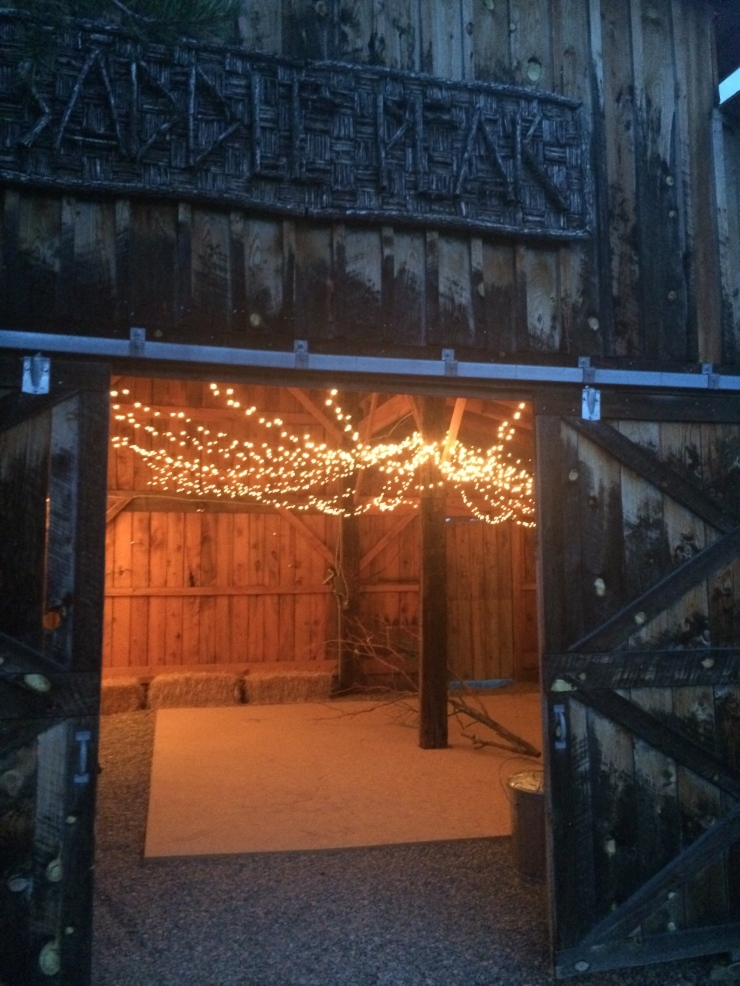 Previously a 3 stall horse barn with tack room, the party barn now features a dance floor & twinkle lights